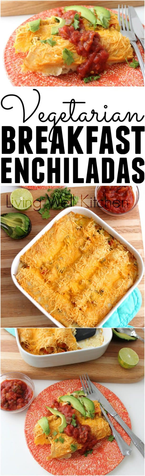 Vegetarian Breakfast Enchiladas make breakfast something to look forward to. Plus they're full of veggies, protein and healthy carbs to keep you full for hours. Vegetarian Breakfast Enchiladas recipe from @memeinge are great for the first meal of the day, or make in the morning and enjoy for dinner!