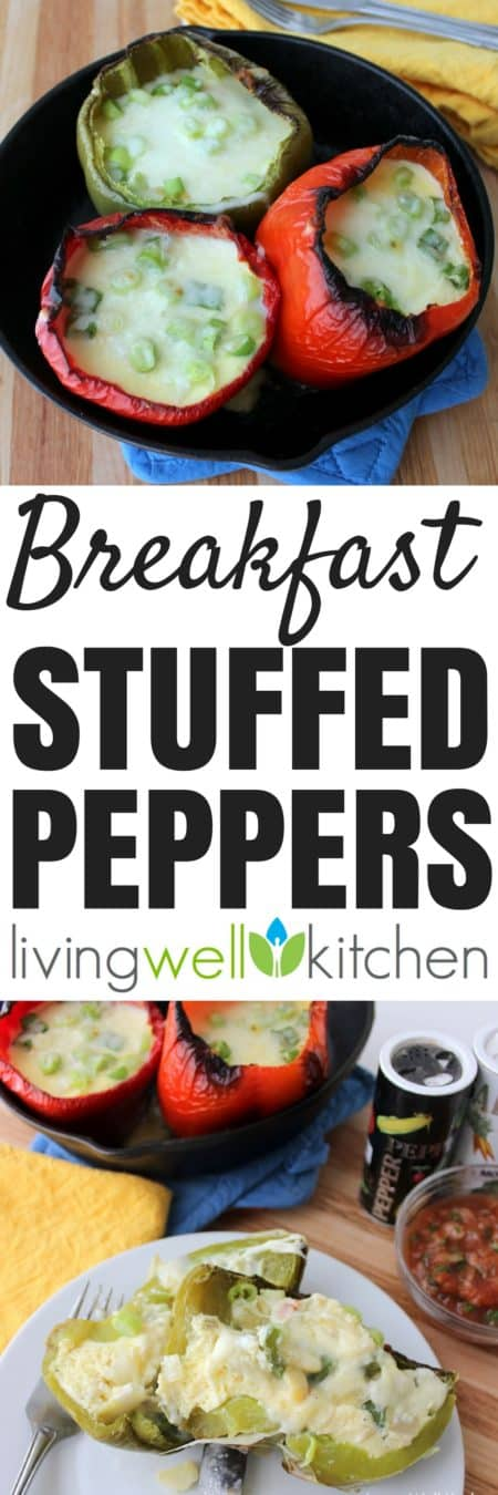 Breakfast Stuffed Peppers from @memeinge are veggie, egg, and cheese stuffed bell peppers that are a delicious way to boost your veggie intake first thing in the morning. Great vegetarian, gluten free breakfast recipe