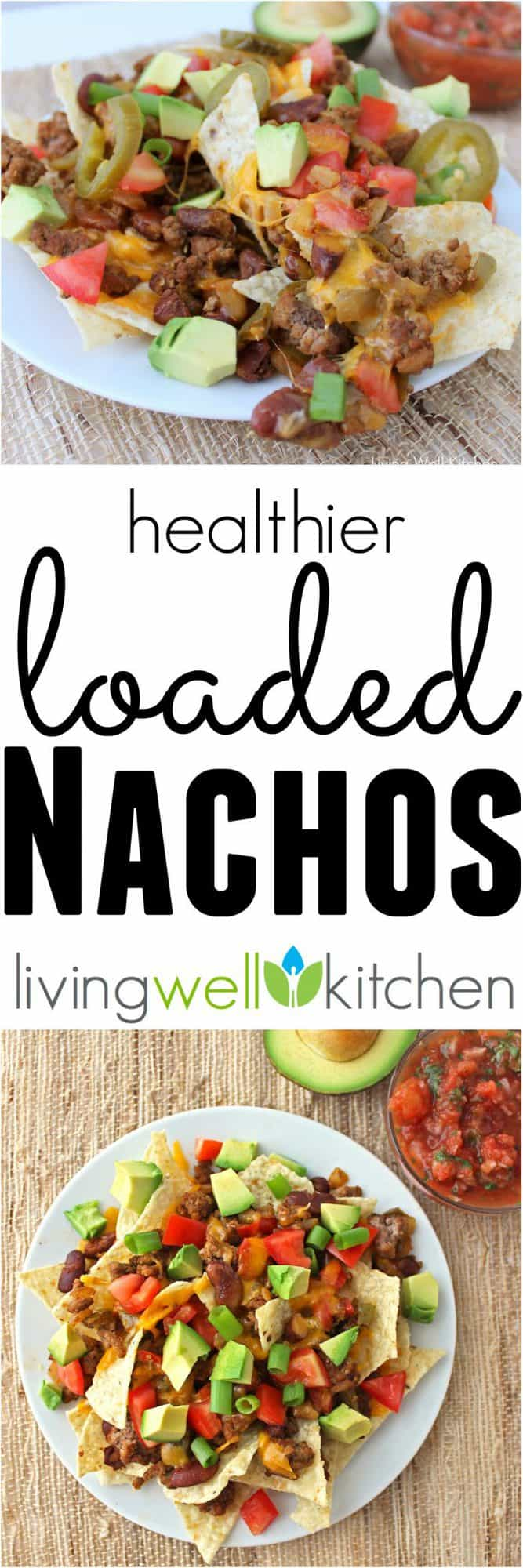 Fully loaded (and a little healthier) nachos from @memeinge with a double layer of chips covered in beef, beans, peppers, onions, cheese, avocado, tomatoes & jalapeños. Great for a gluten free snack or appetizer recipe. Perfect for gameday