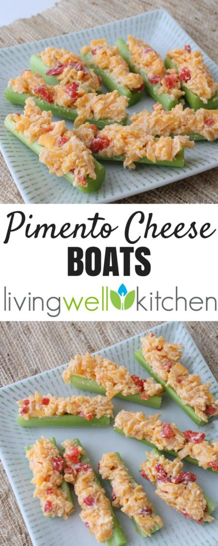 These Pimento Cheese Boats from Living Well Kitchen are the perfect one-handed snack: simple, easy, and tasty. Great make-ahead appetizer for gameday, tailgating, or any party. Gluten free, vegetarian, high protein recipe. #gameday #appetizers #snacks #vegetarianrecipes #tailgating #makeahead
