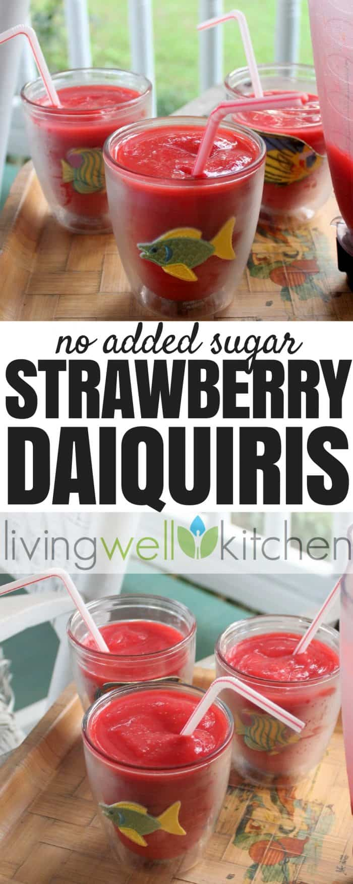 Only four ingredients needed to make these Strawberry Daiquiris from @memeinge guaranteed to satisfy your craving with no added sugar. Dairy free, gluten free, vegan, no sugar added recipe. Great for entertaining!