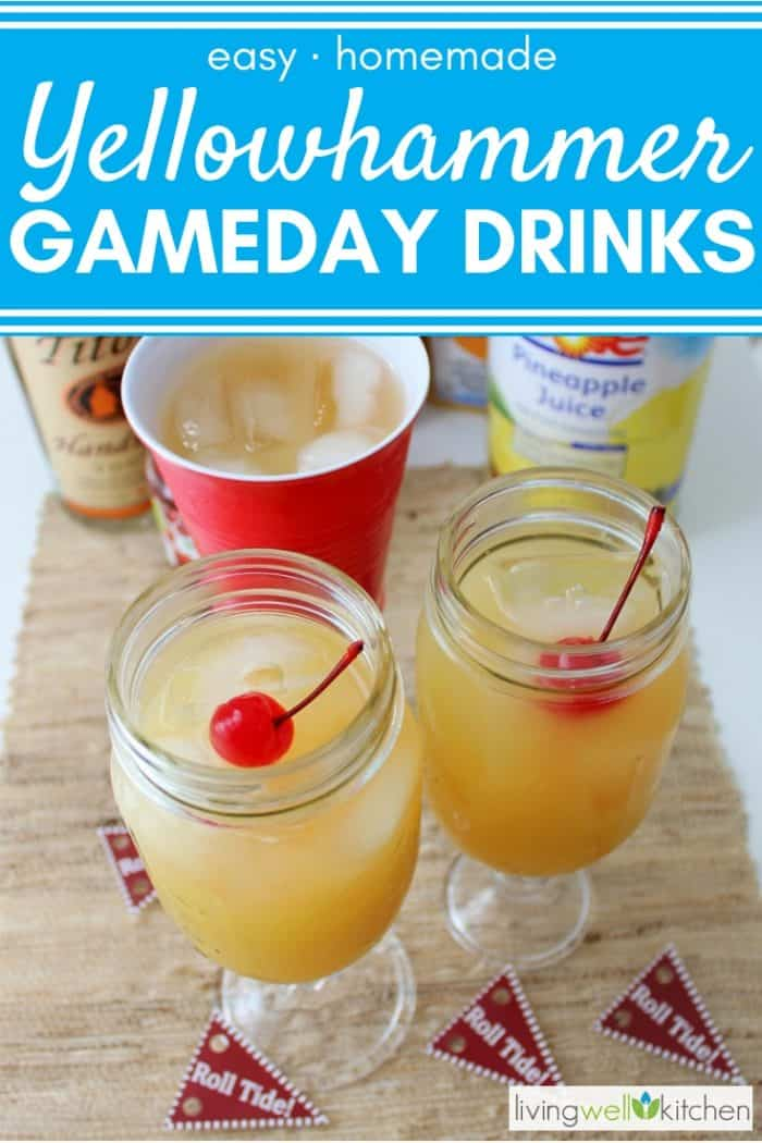 cups of yellow hammers, a game day cocktail with cherries