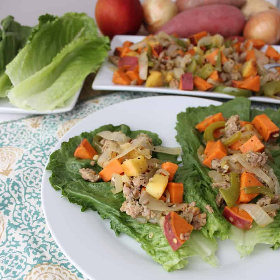 sweetpotato, sausage, and apple lettuce wraps