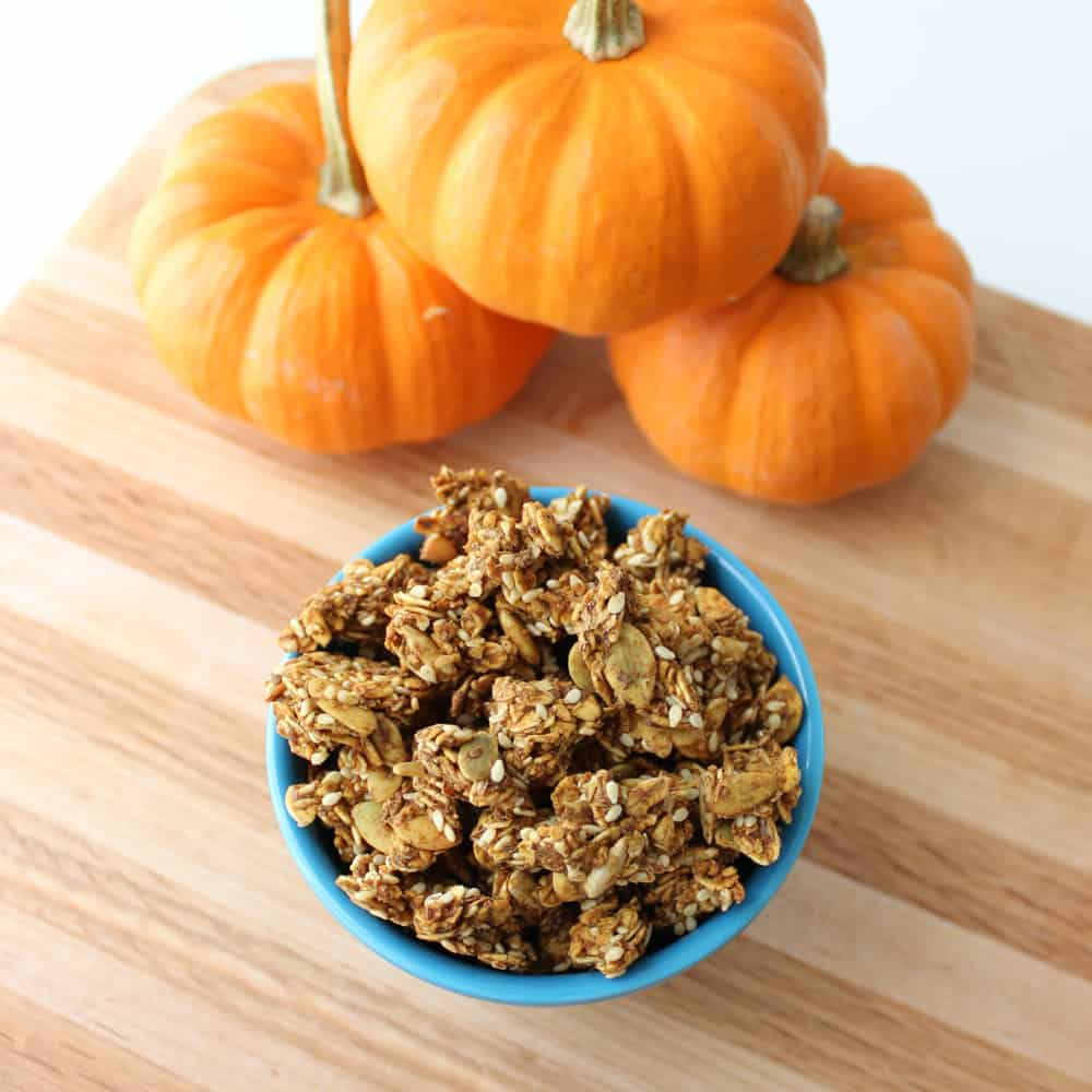 pumpkin granola in blue bowl