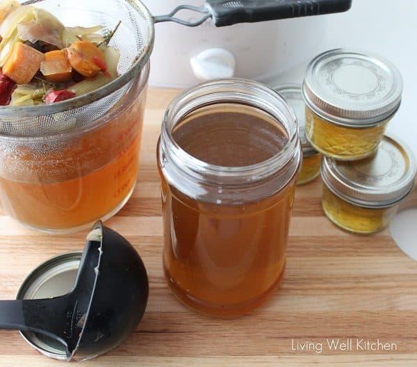 Crock Pot Vegetable Broth in a glass jar