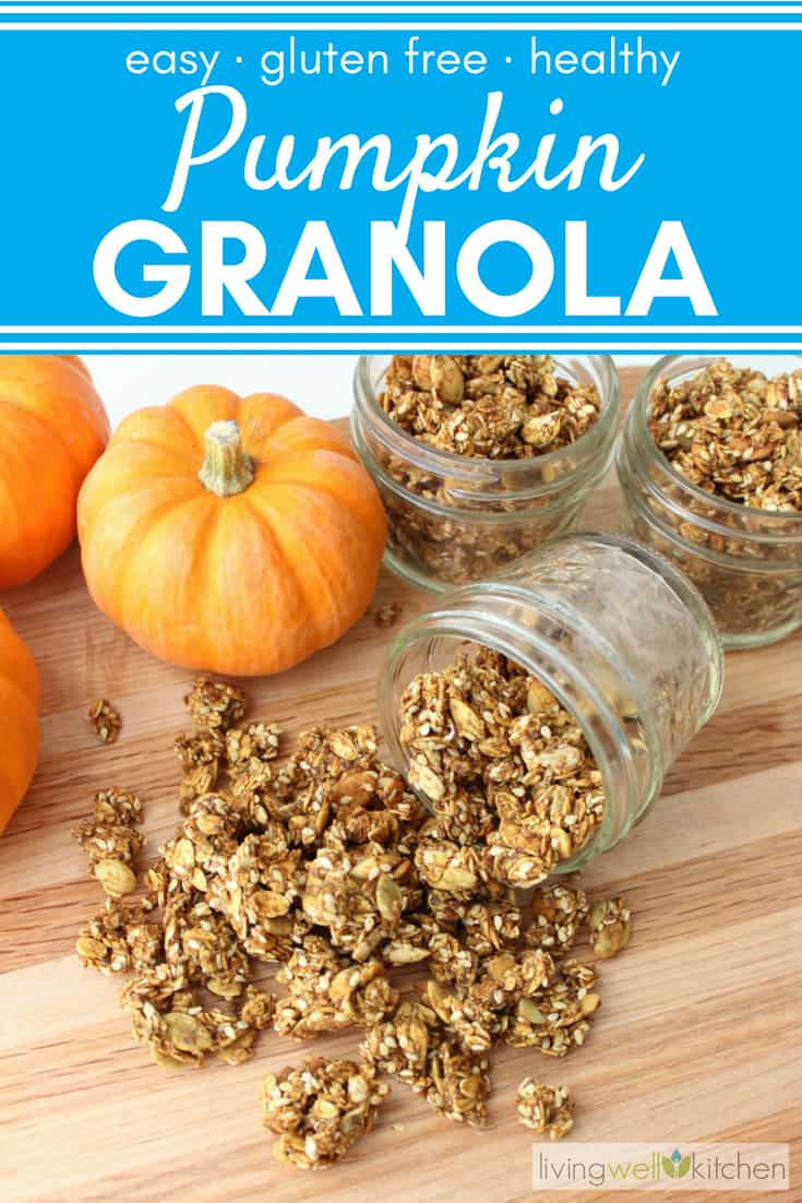 Celebrate fall and pumpkin season with this easy, healthy, homemade Pumpkin Granola that is packed with nourishing goodness like Vitamin A, omega-3's, and fiber. This nut free, gluten free, vegan granola recipe is great to made ahead for snacks, lunches, traveling and meal prep. #pumpkingranola #granolarecipe #pumpkinrecipes #snackrecipes #healthygranola