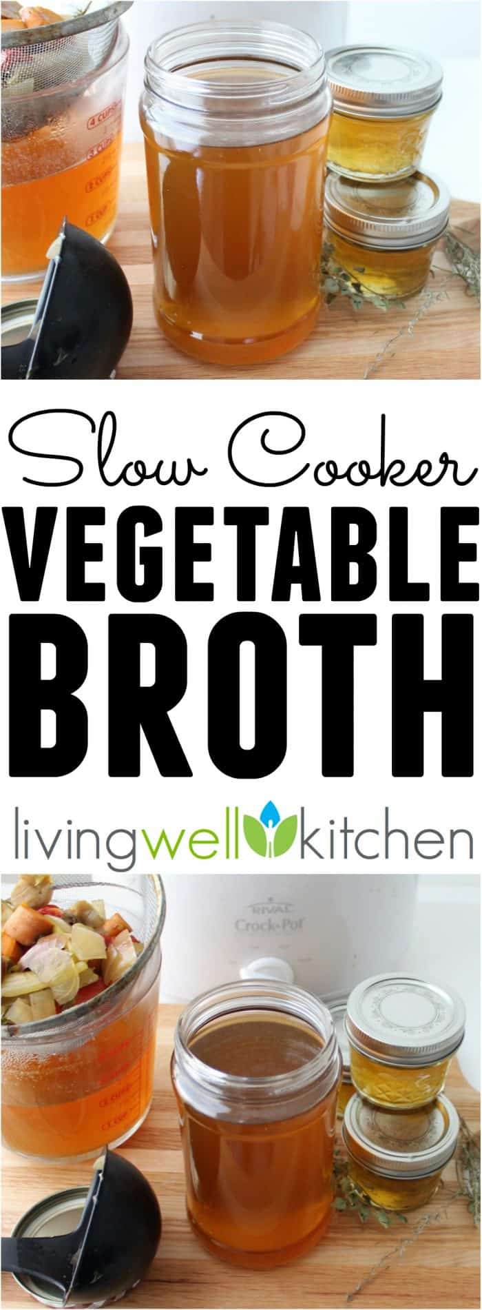 This incredibly easy homemade Vegetable Broth recipe is made in a slow cooker and is completely customizable