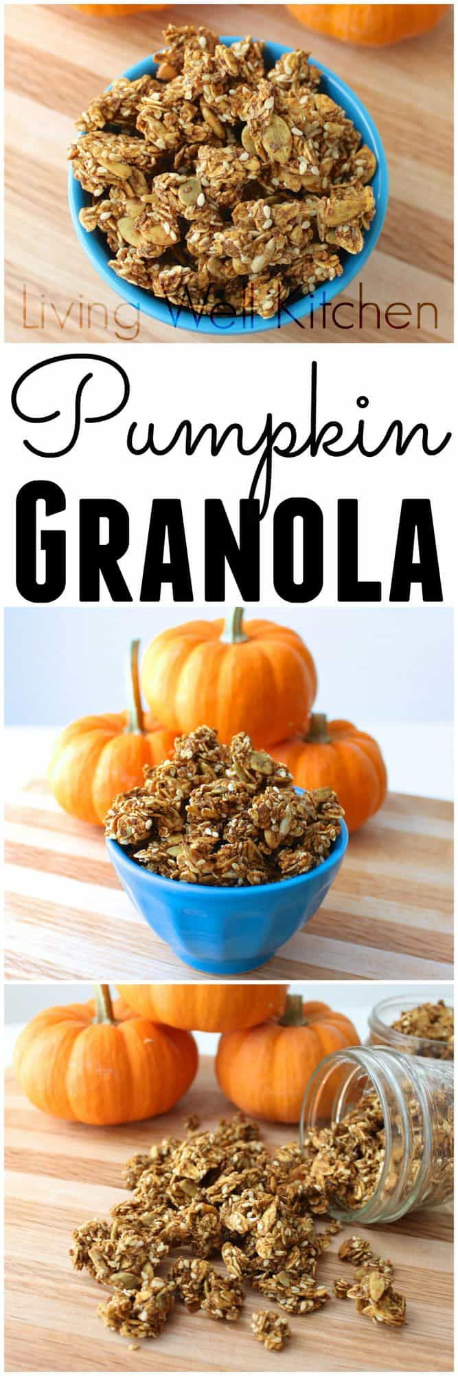 Celebrate the fall & pumpkin season with this delicious granola packed with healthy goodness like fiber, omega-3's, and protein. Pumpkin Granola from Living Well Kitchen @memeinge