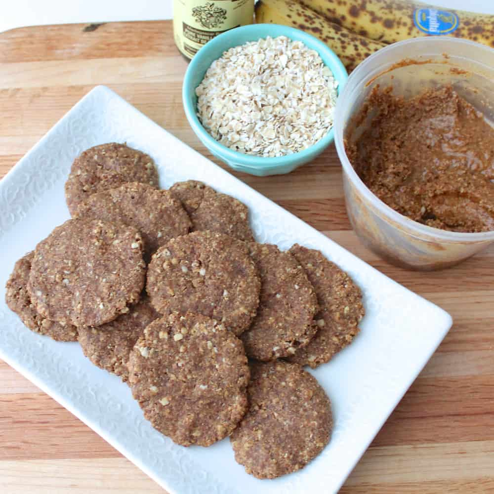 plate of Almond Butter Banana Cookies with oats, almond butter and banana