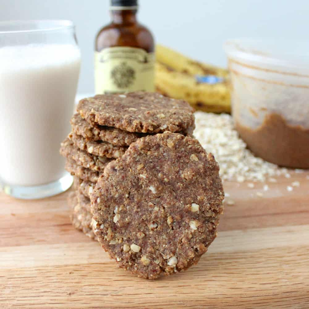 almond butter banana cookie stack with a front facing cookie