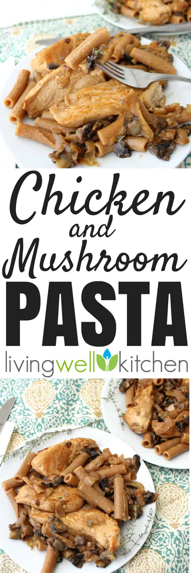 Chicken and Mushroom Pasta is a super easy and versatile dish that you can make sure own for a quick and delicious dinner in less than 30 minutes. Great recipe for using up vegetables past their prime, it is an incredibly rich and filling meal without cream or butter