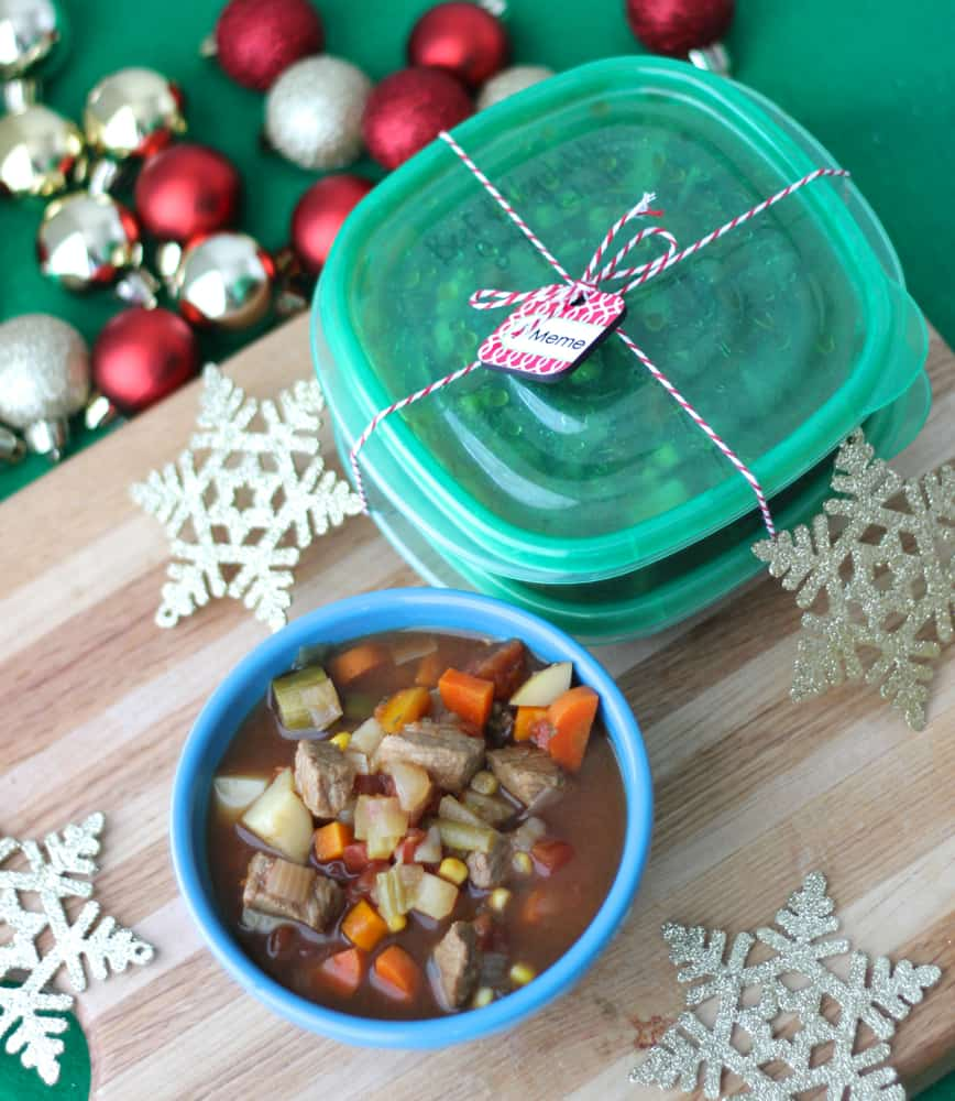 Beef and Vegetable Soup from @memeinge is a hearty, comforting, inexpensive meal. This tasty, gluten free and dairy free recipe freezes well and is a great healthy homemade holiday gift