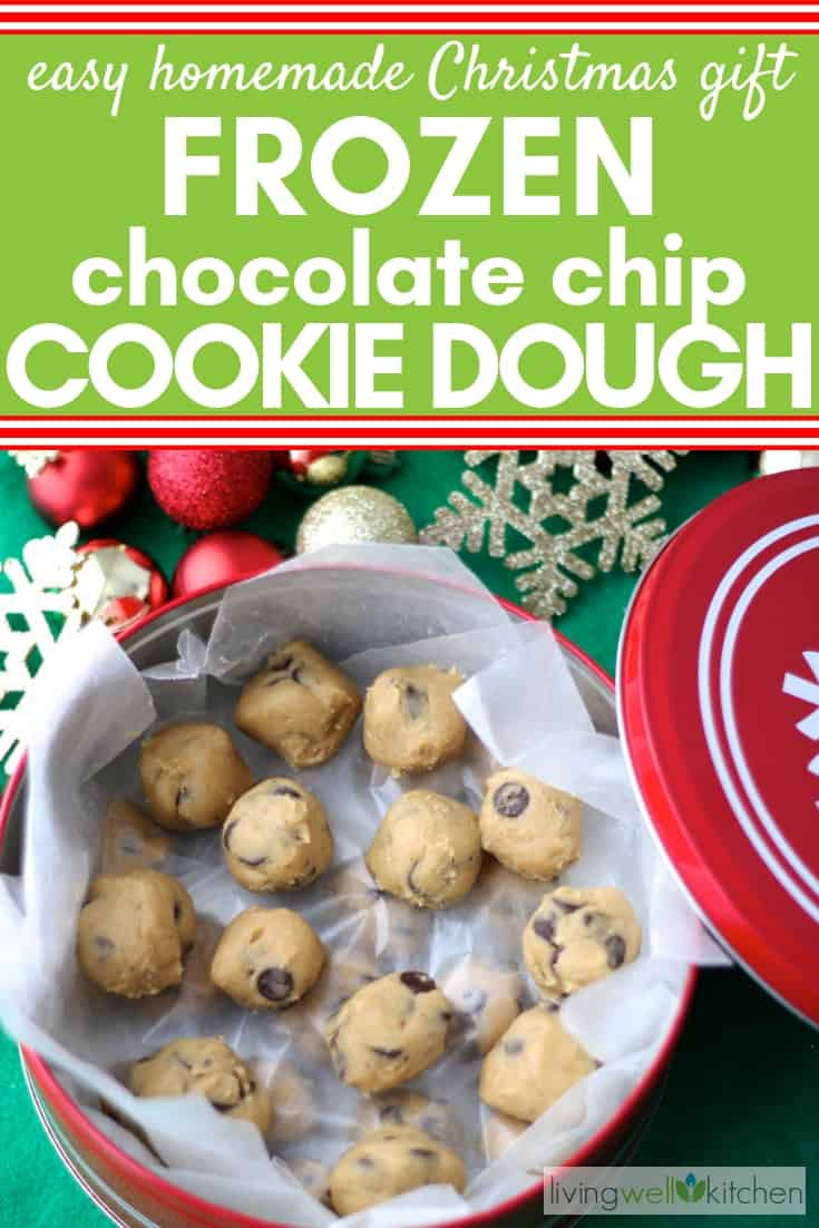 Looking for Christmas gift ideas? How about cookie dough because everyone loves cookies! This year, give the gift of cookie dough, so your recipient can make cookies whenever they want! A great homemade gift for the holidays. #Christmasgift #homemadeholidaygift #livingwellkitchen