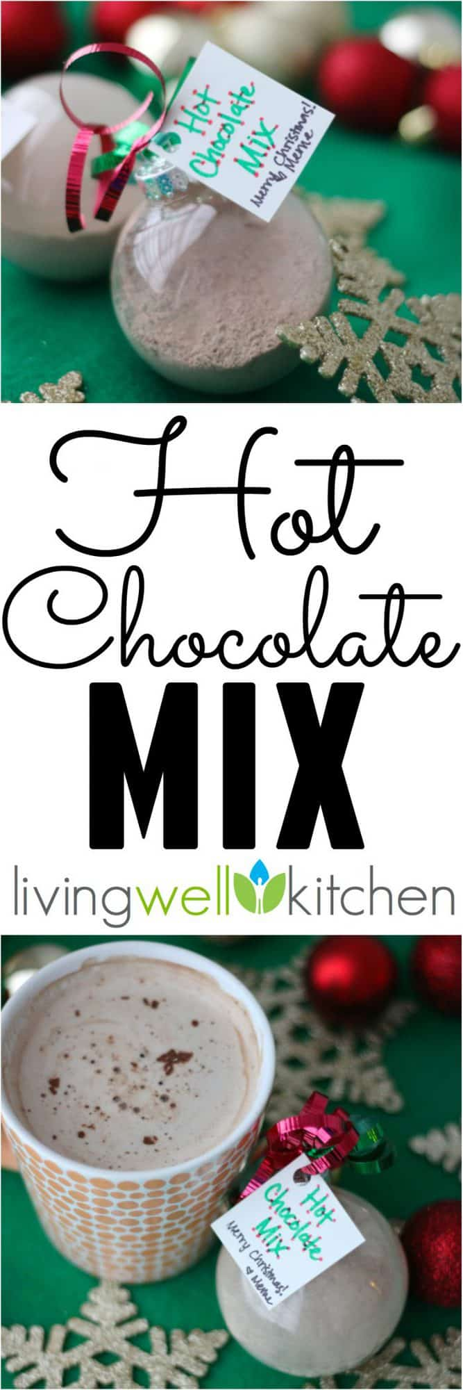 Easy hot chocolate mix has less than 5 ingredients and less sugar than most homemade recipes. Great for Christmas gifts!