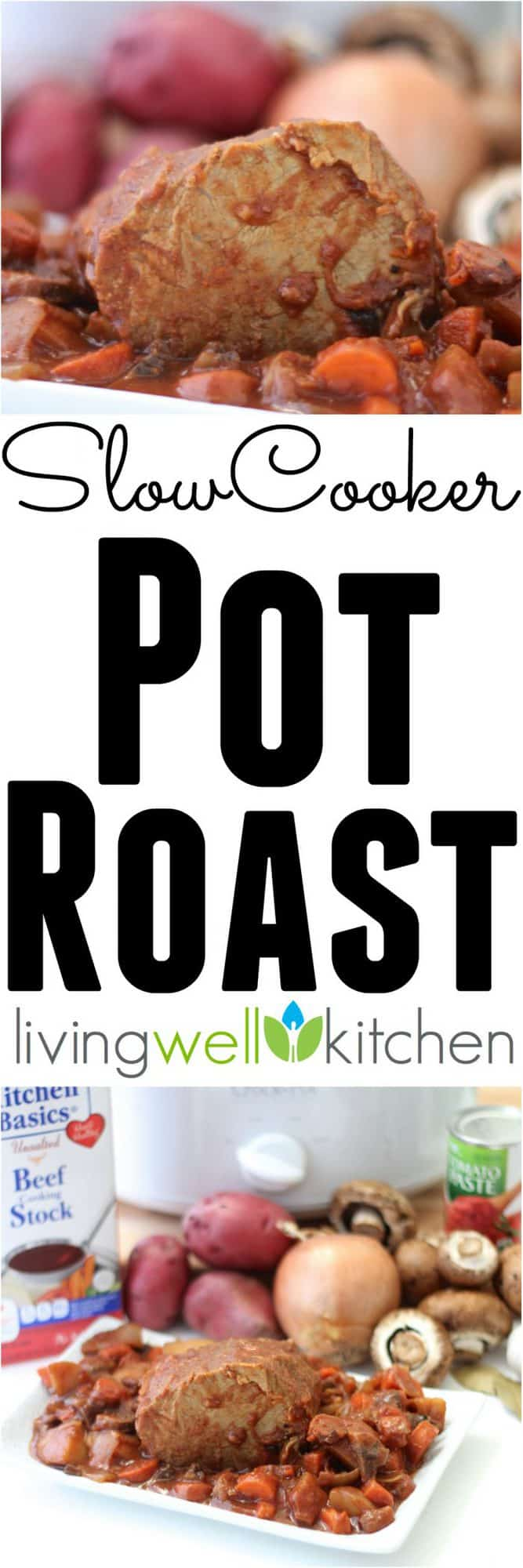 Slow Cooker Pot Roast recipe from @memeinge is a combo of tender meat, tons of veggies, flavorful sauce... easy to make, nourishing comfort food goodness