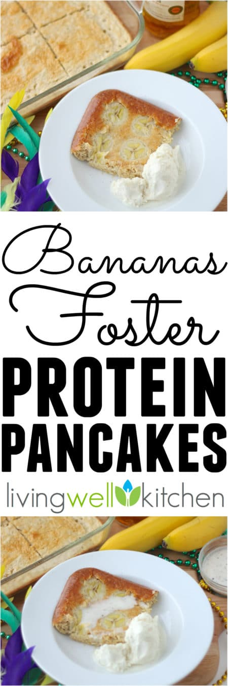 Bananas Foster Protein Pancakes from @memeinge are a great Mardi Gras breakfast, ice cream and rum sauce included, that you'll want to fill up on before you hit the parade route. Perfect gluten free recipe idea to serve a crowd