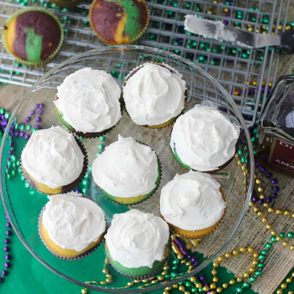 Boozy Mardi Gras Cupcakes from Living Well Kitchen