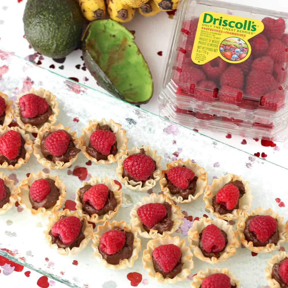 Chocolate Tartlets with avocado and fresh raspberries