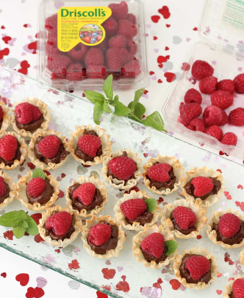 Chocolate and Raspberry Tartlets with fresh mint