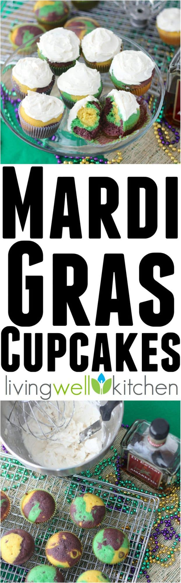 These boozy Mardi Gras cupcakes from @memeinge are a fun and festive treat for the Carnival season. Great dessert recipe idea for a Fat Tuesday party