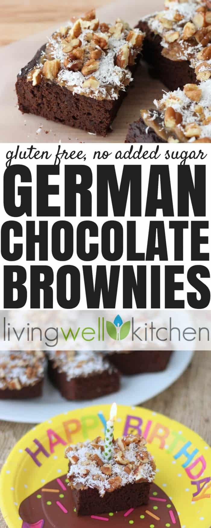 German Chocolate Brownies from @memeinge are black bean brownies sweetened entirely with dates topped with caramel, coconut, and pecans. Heaven!