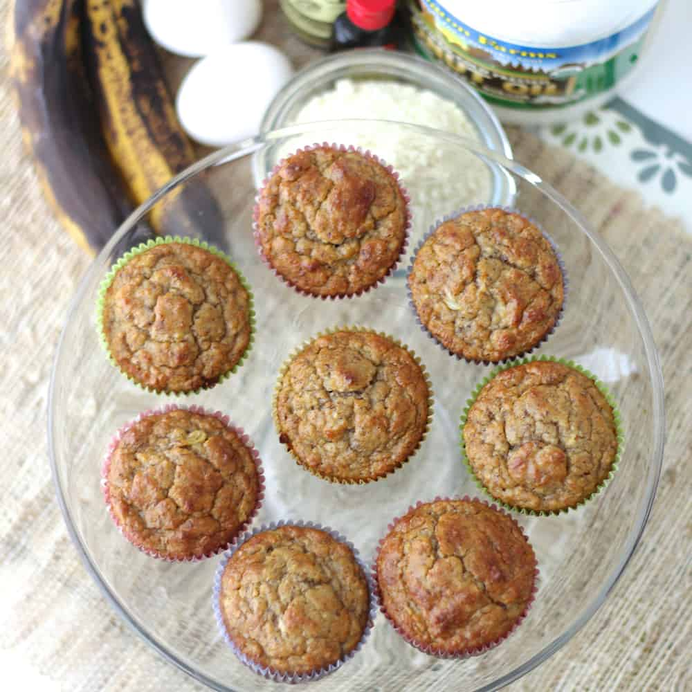 Banana Almond Muffins from Living Well Kitchen are no sugar added muffins that are a delicious treat for breakfast, snack, or dessert. High in fiber & protein and gluten free