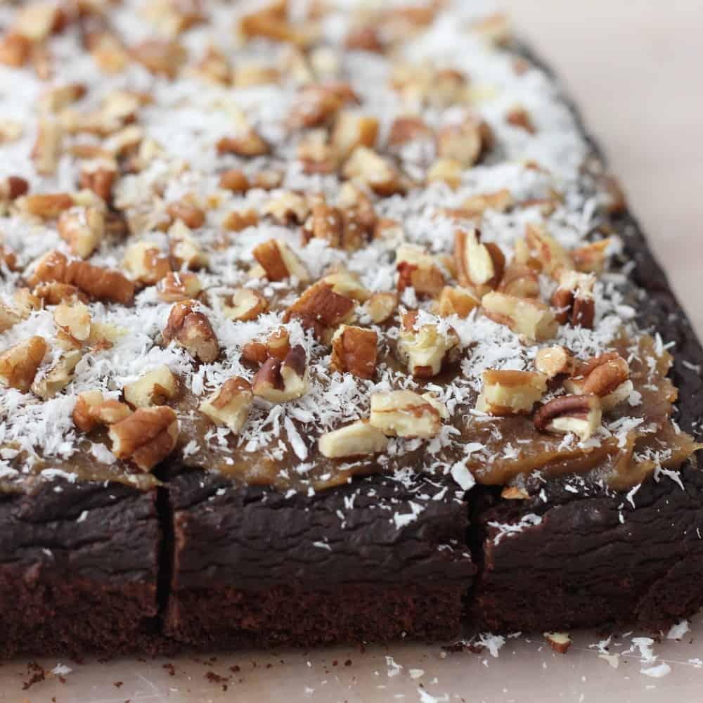 German Chocolate Brownies | Living Well Kitchen