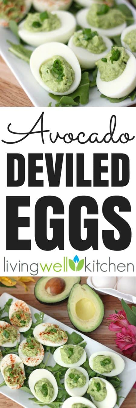 Avocado Deviled Eggs from @memeinge are the quintessential Easter appetizer made using avocados instead of mayo. Creamy, a little spicy, and delicious! Dairy and gluten free recipe perfect for snacks or for serving a crowd