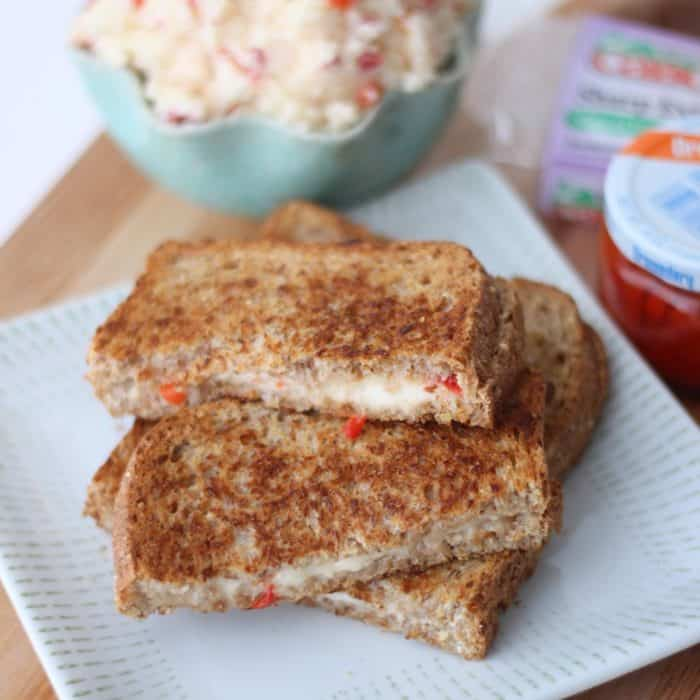 stacked Pimento Cheese Grilled Cheese on a plate