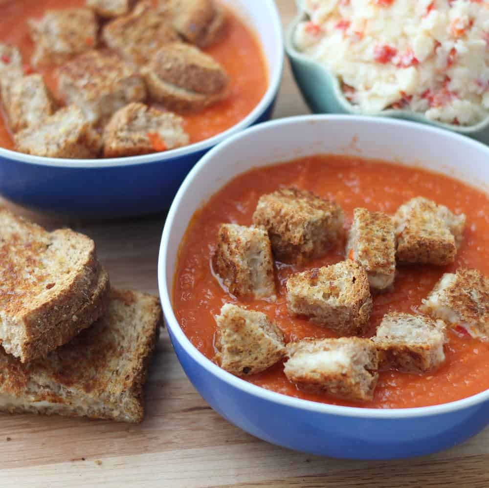Easy Tomato Soup with Pimento Cheese Grilled Cheese Croutons from Living Well Kitchen