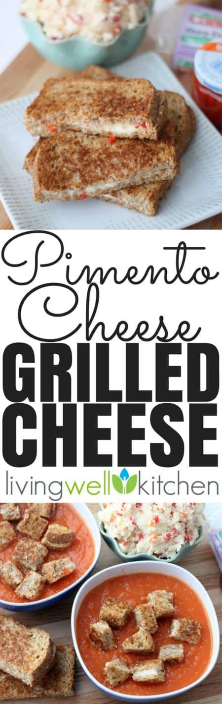 Pimento Cheese Grilled Cheese recipe from @memeinge uses the southern staple, Pimento Cheese, to make the cheesiest grilled cheese ever. It's also the perfect partner for tomato soup! Vegetarian and easily made gluten free