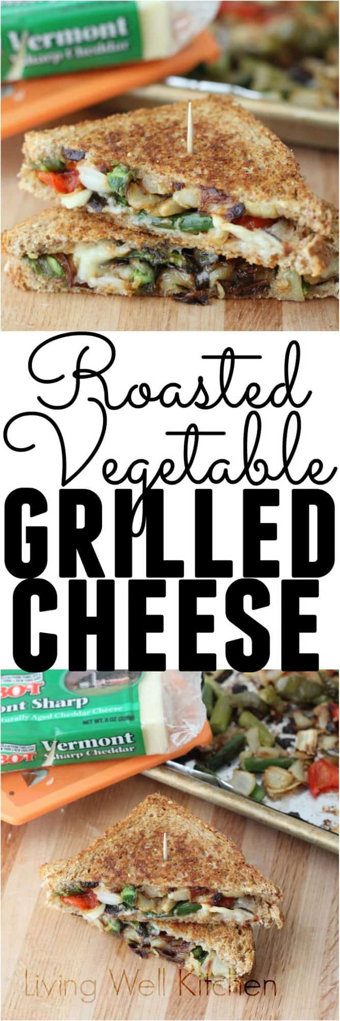 Enjoy a tasty and veggie packed grilled cheese. It's a filling and delicious way to use up any leftover roasted vegetables. This Roasted Vegetable Grilled Cheese recipe will satisfy any comfort food craving. Perfect for a vegetarian dinner or lunch