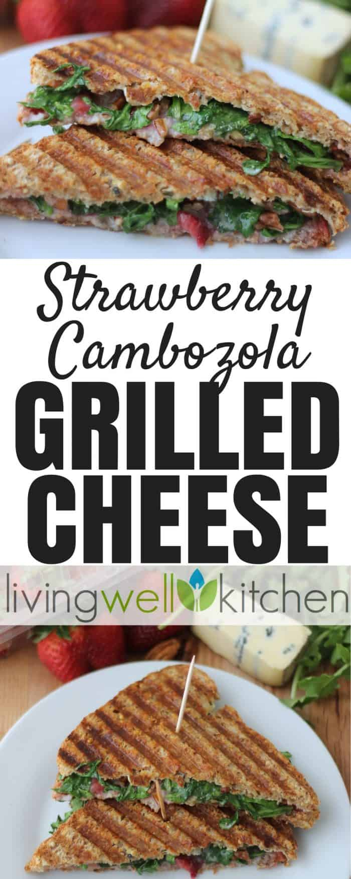 Strawberry Cambozola Grilled Cheese from @memeinge is a tasty grilled cheese packed with flavorful and creamy Cambozola, sweet strawberries, crunchy pecans, and spicy arugula