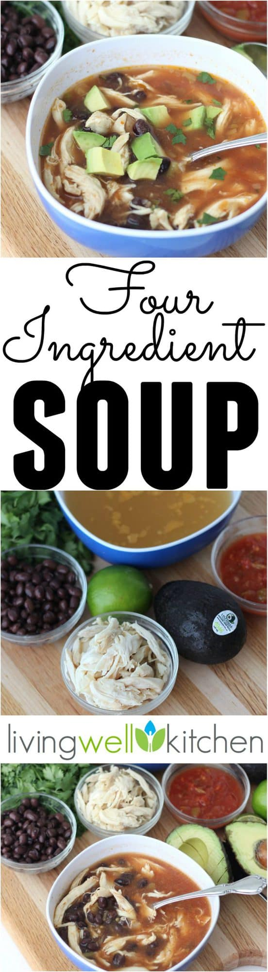 A four ingredient soup recipe that is ready in minutes! It takes just four ingredients and less than 5 minutes to make this delicious and filling soup great for any meal. Gluten free, dairy free and easily made vegan