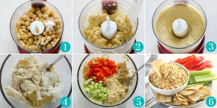 steps to make hummus in a mini food processor then steps to make chicken salad in bowl