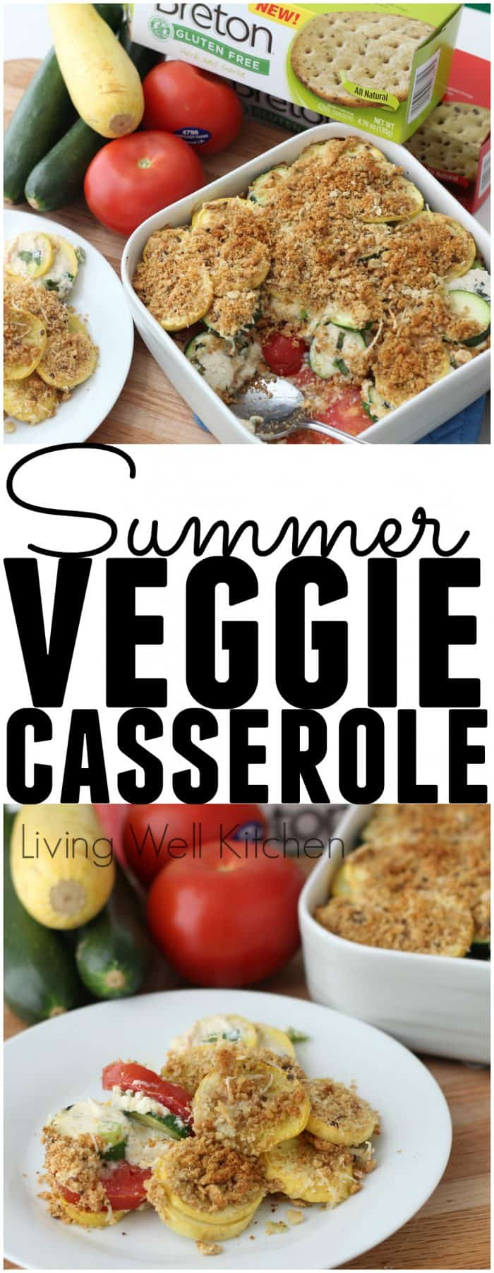 Summer Veggie Casserole from @memeinge is a delicious way to use all those colorful summer vegetables popping up in the produce section, and everyone can enjoy because the topping is gluten-free