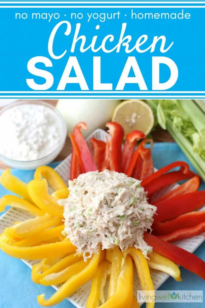 scoop of chicken salad with red and yellow bell pepper slices