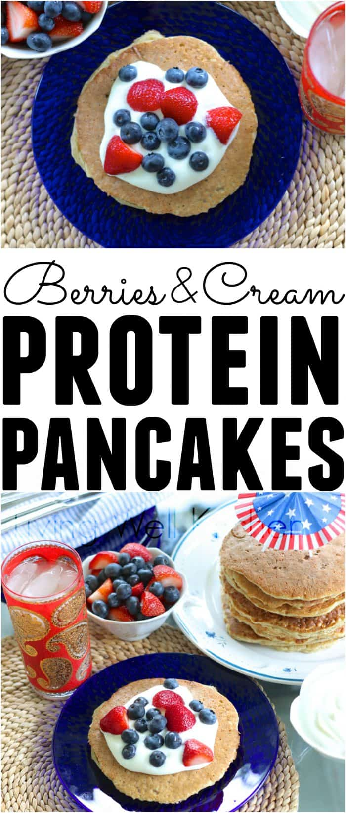 Berries and cream protein pancakes that are both festive and delicious; great for a healthy summer breakfast! Easy, protein-filled, gluten-free. Berries and Cream Protein Pancakes with homemade yogurt whipped cream from @memeinge
