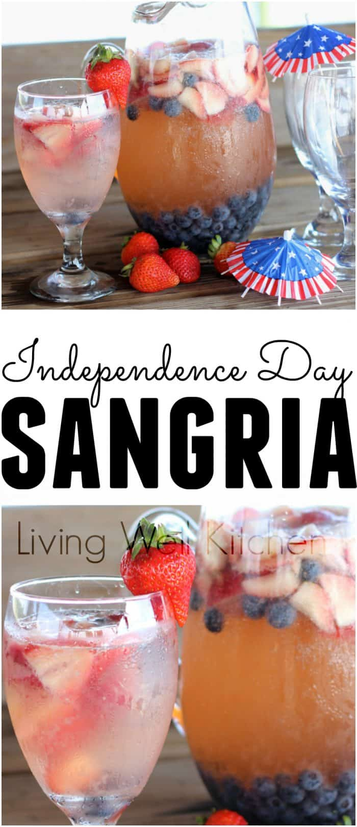 photo collage of independence day sangria