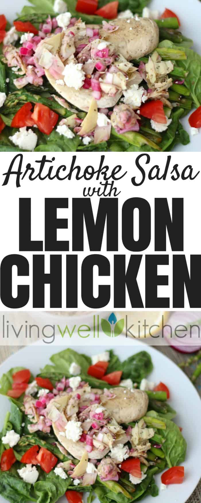 You'll love this bright and refreshing dish of lemon chicken and roasted asparagus covered in a flavorful, veggie-packed salsa. Artichoke Salsa with Lemon Chicken from Living Well Kitchen is a tasty gluten free recipe that's great served over lettuce or grains. via @memeinge    https://blog.memeinge.com/artichoke-salsa-and-lemon-chicken/