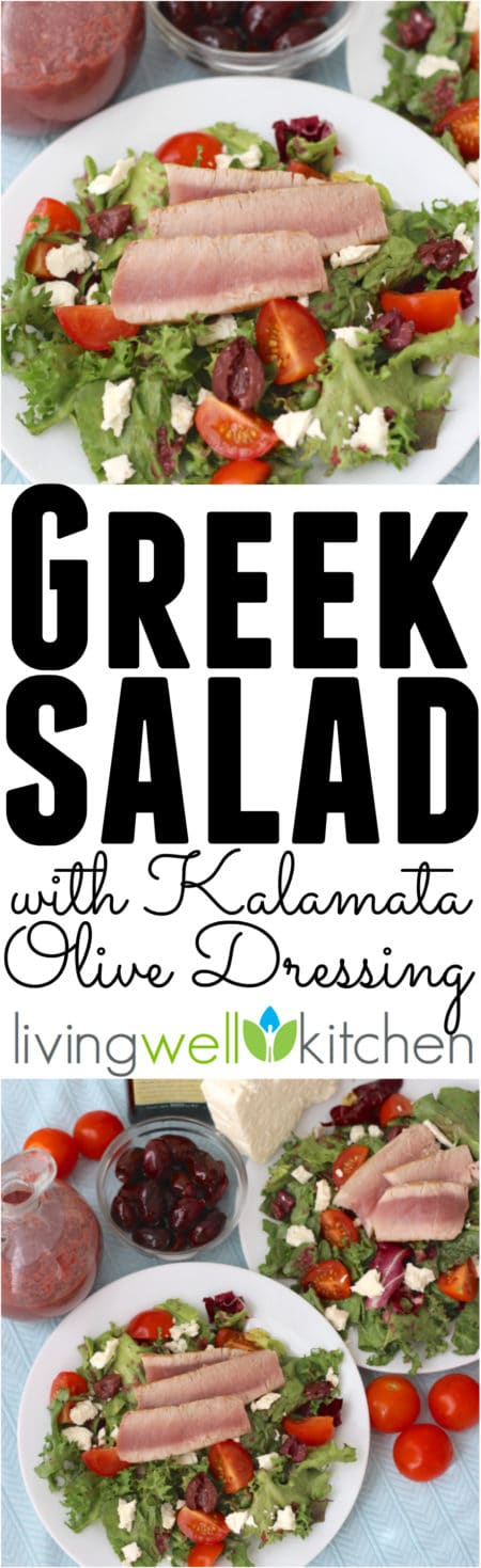 Kalamata olives make a rich, satisfying, incredibly flavorful dressing for this Greek Tuna Salad with Kalamata Olive Dressing recipe from @memeinge. Gluten free with dairy free option