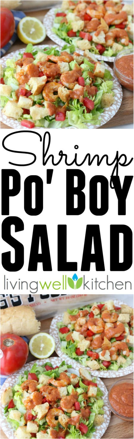 Shrimp Po' Boy Salad recipe @memeinge is a deconstructed salad version of a New Orleans classic, complete with a remoulade sauce for dressing. Dairy free