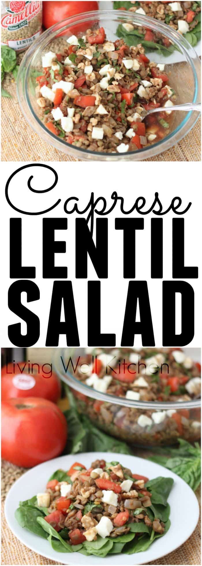 Caprese Lentil Salad from @memeinge is a surprisingly unforgettable salad that screams summer! Protein and fiber-filled salad that is packed with veggies and flavor.