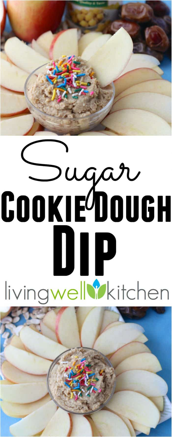 No Sugar Added Sugar Cookie Dough Dip from @memeinge is so tasty, you'll have no idea it's made with chickpeas and sweetened with dates! This recipe is vegan and gluten free