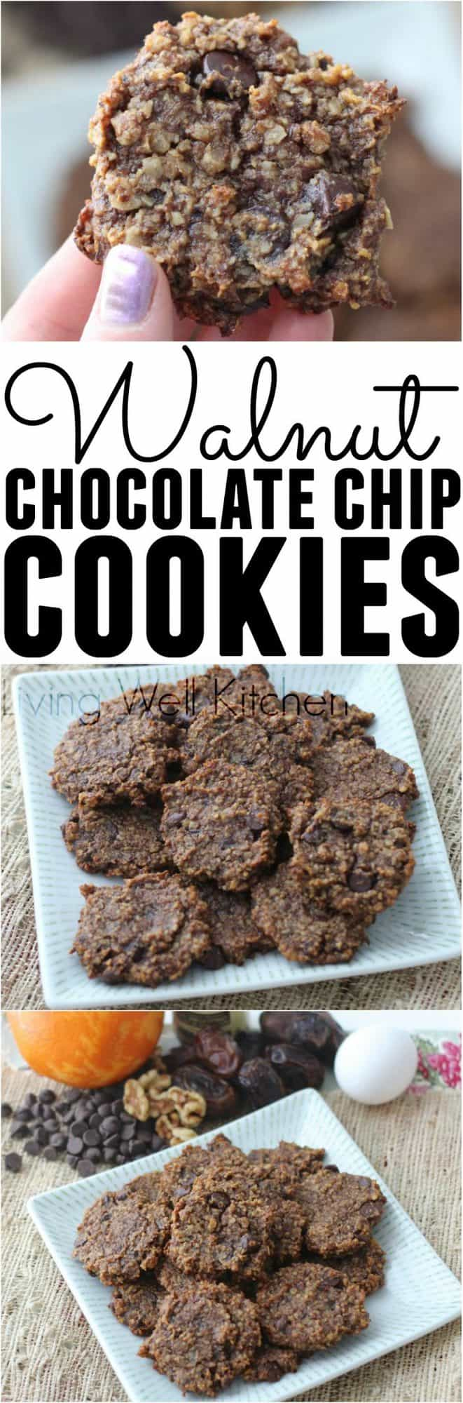 Walnut Chocolate Chip Cookies from @memeinge are no sugar added, gluten free, and butter free chocolate chip cookies. These are cookies you can feel good eating!