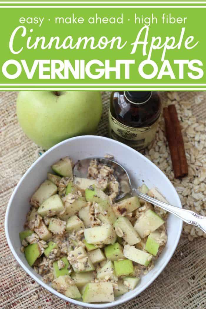 cinnamon apple overnight oats with text overlay