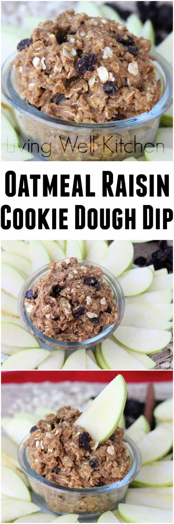 This healthy cookie dough dip is the perfect afternoon snack, using the natural sweetness of California raisins. from Living Well Kitchen @memeinge