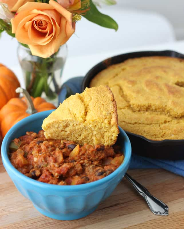 Pumpkin Chili with Pumpkin Cornbread from Living Well Kitchen. Pumpkin and white whole wheat flour help improve the nutritional value of this Southern standard while keeping the delicious flavor and slightly crumbly texture