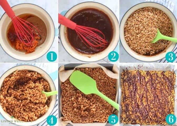 step by step photos to make pumpkin rice crispy treats