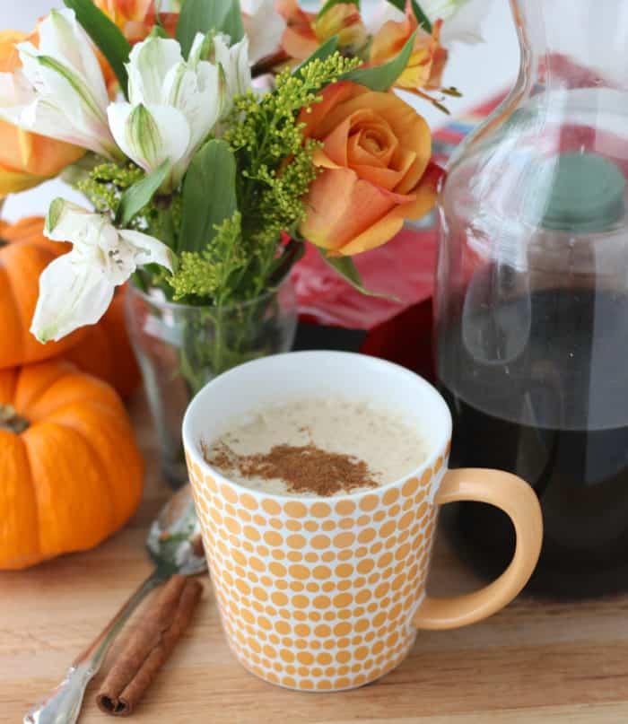 pumpkin spiced latte, flowers, canister of Pumpkin Spiced Coffee